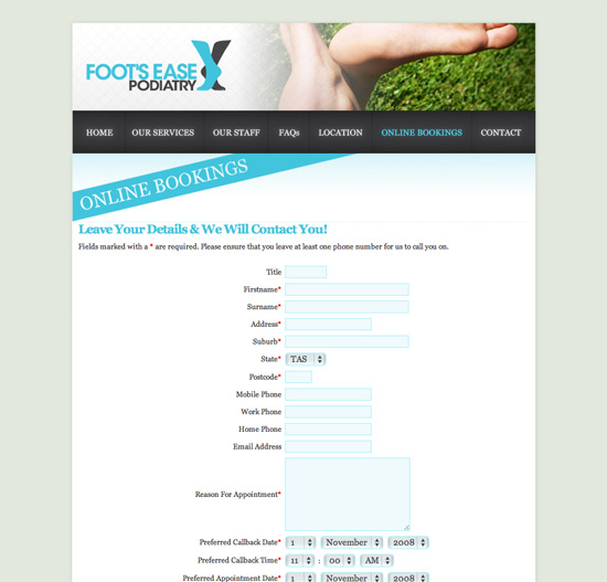 Foot's Ease Podiatry website
