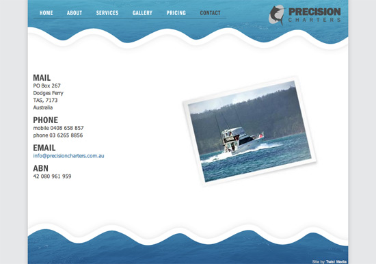 Precision Charters website
